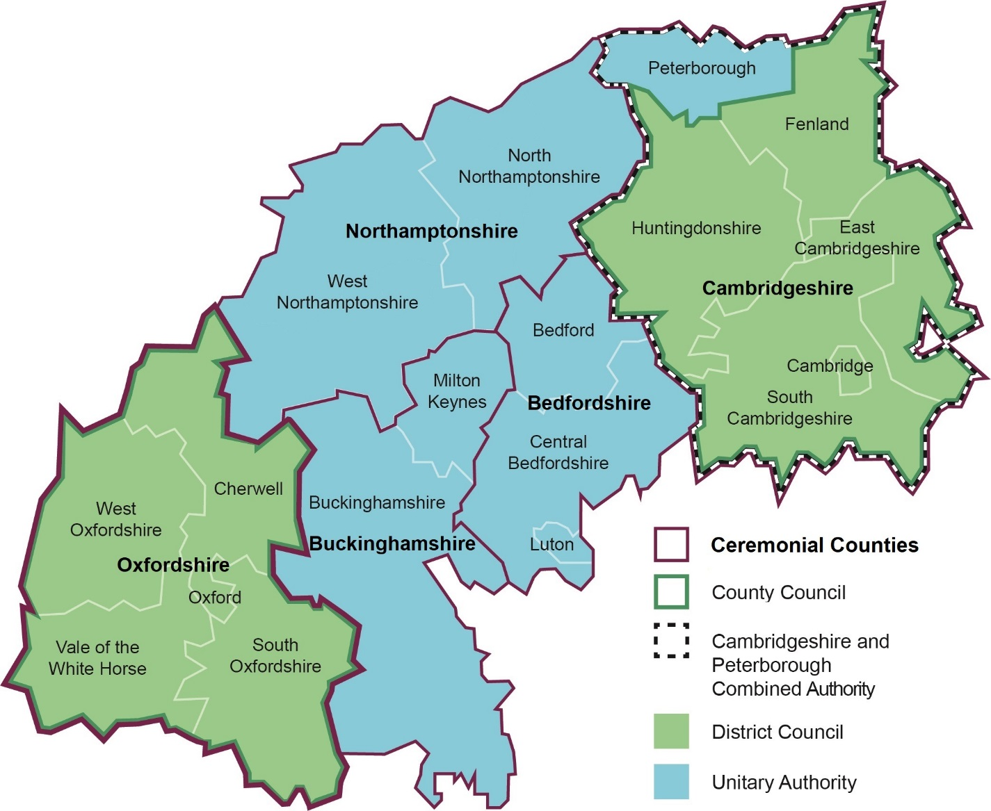 Map of the Oxford-Cambridge Arc area showing key administrative boundaries including: Ceremonial Counties; City Councils; Combined Authorities; District Councils; and Unitary Authority areas.